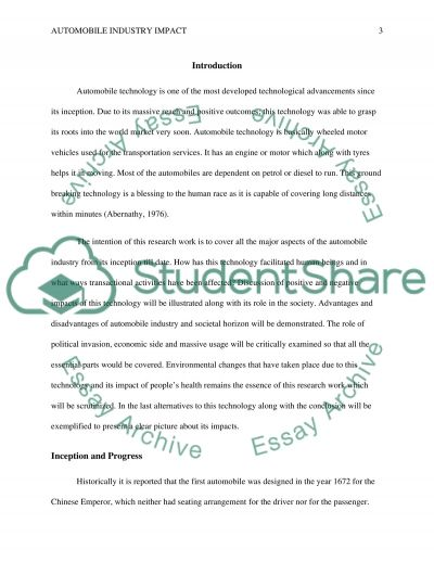 Impact of technology automobile essay example