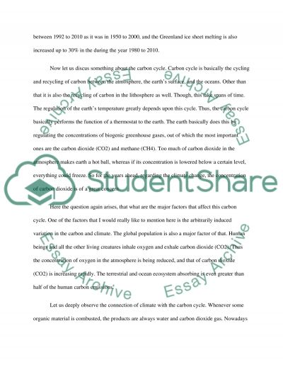 Carbon cycle and climate change essay example