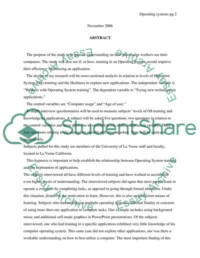 Operating systems research paper