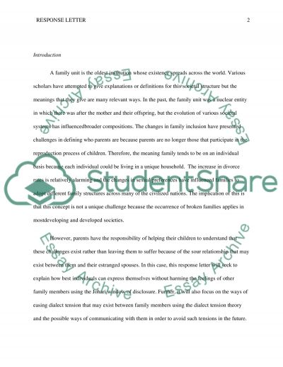 Responce lettr essay example