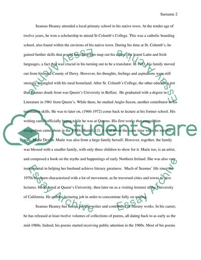 Seamus Heaney Essay Example  Topics And Well Written Essays    Seamus Heaney Custom Eassy Writing also Friendship Essay In English  Persuasive Essays For High School