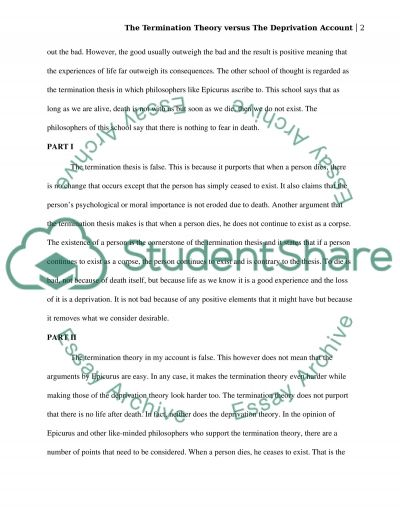The termination theory versus the deprivation account essay example