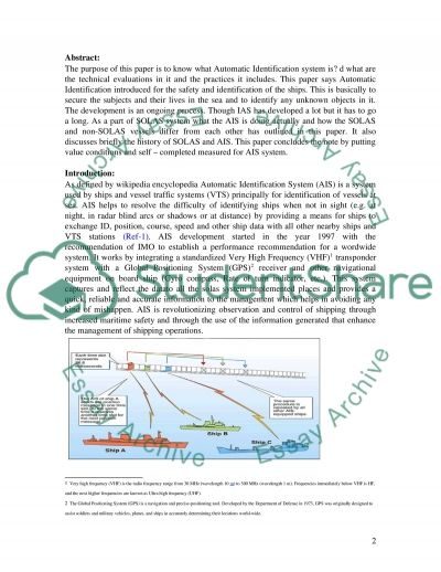 Navigation System Automatic Identification System (AIS) essay example
