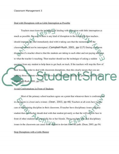 Classroom Management essay example
