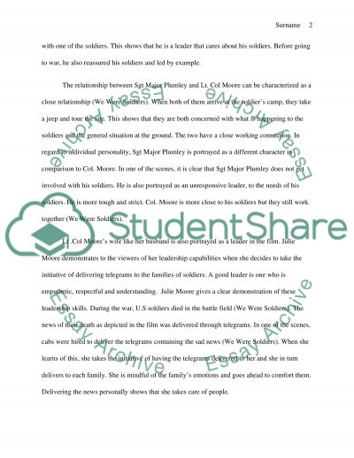 We Were Soldiers Movie on Leadership Essay Example – Leadership Essay Example