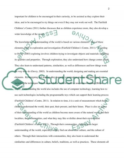 The Effect the Outdoor Enviroment Has on Childrens Knowledge and Understanding of the World essay example