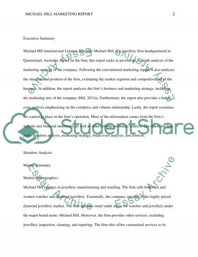 Michael Hill essay example