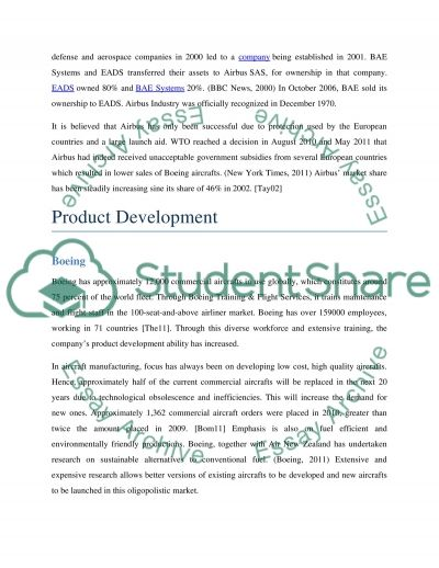 Economics of Industry - Market structure in the aircraft manufacturing industry essay example
