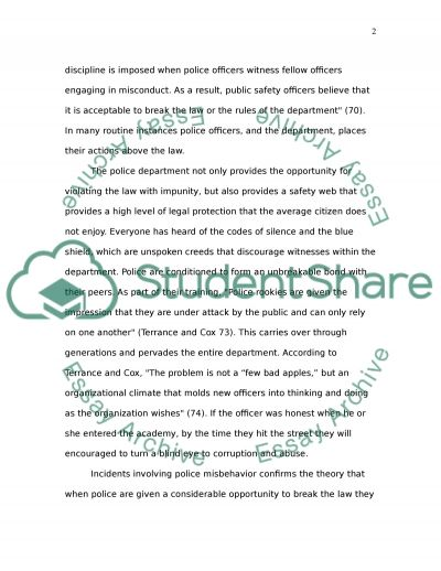 ARE POLICE ABOVE THE LAW essay example