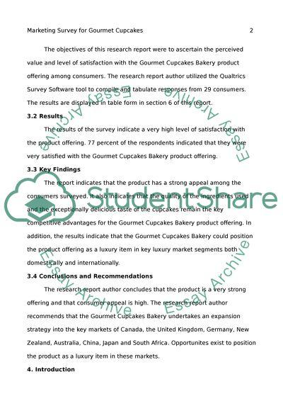 Marketing Survey for Gourmet Cupcakes