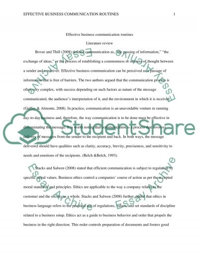 Effective Business Communication Routines essay example