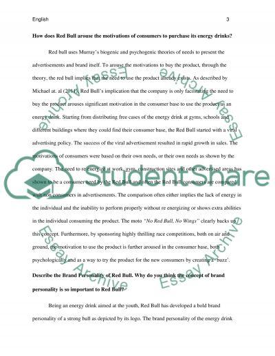 Consumer Behaviour- Redbull Case Study questions essay example