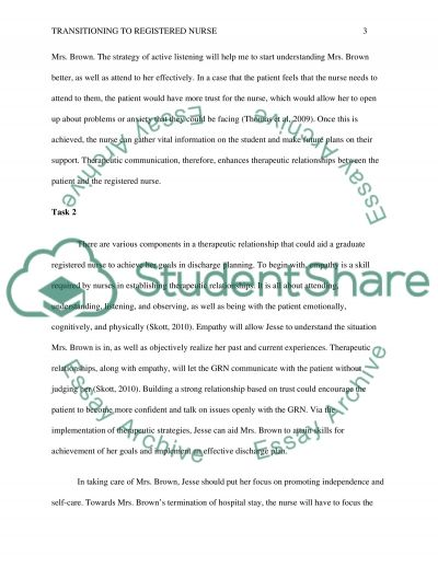 Tranitioning to registered nurse Essay example