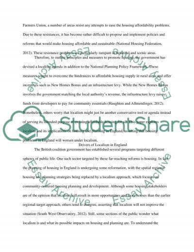 Housing Development (Housing Study) essay example