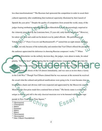 History Essay Subject Van Cliburn