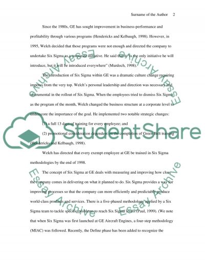 Six Sigma at General Electric essay example