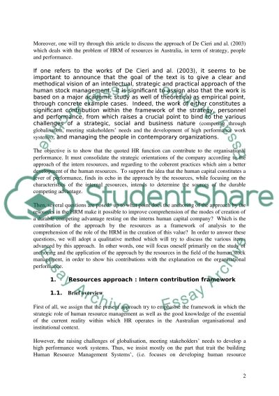 The role of Human Resource Management Essay example