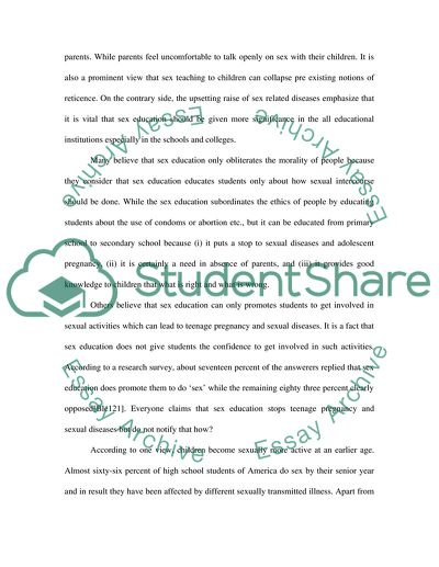 sex education system essay example  topics and well written essays