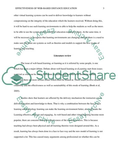 Literature review (Effectiveness of Web-based Distance Education)