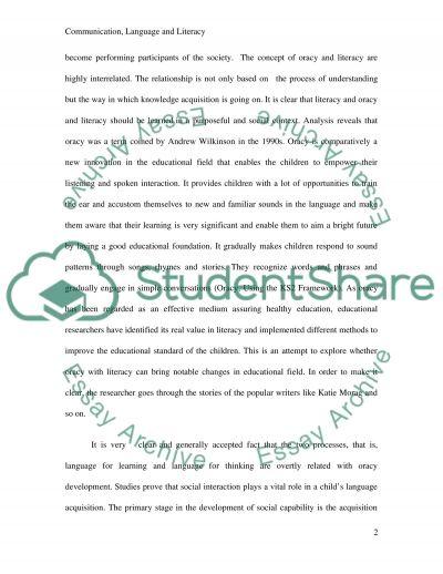 Communication, language and Literacy essay example