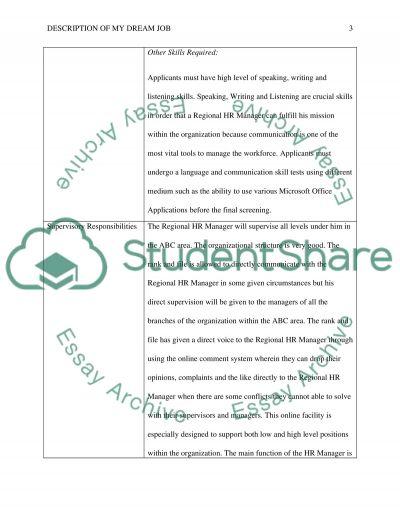 dream job essay outline