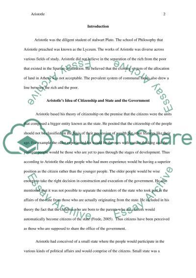 ARISTOTLE essay example