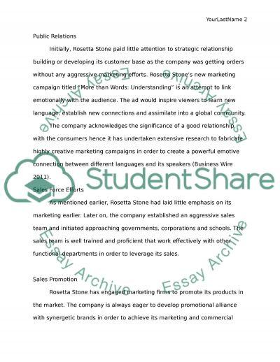 Rossetta Stone: A brief insight into marketing strategy essay example