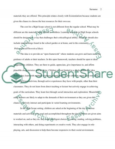 High Scope Curriculum for Independent and Socially Responsive Children essay example