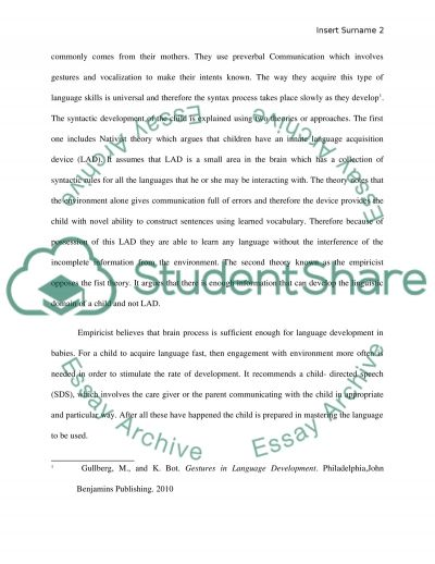 The development and acquisition of language over the span of lifetime essay example