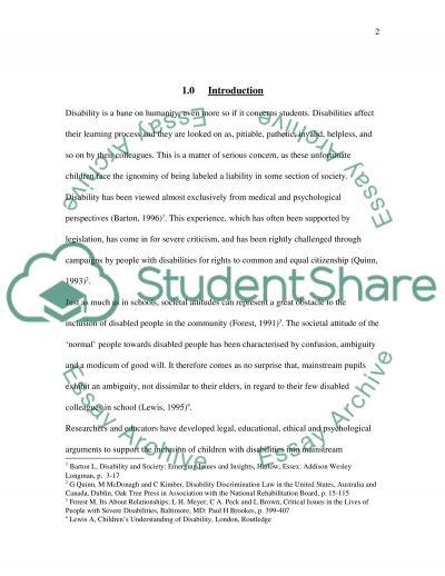 Inclusion of SEN Students in Schools essay example