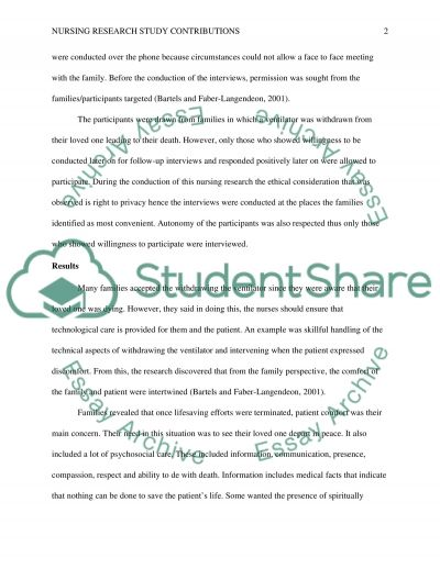 Nursing research study contributions essay example