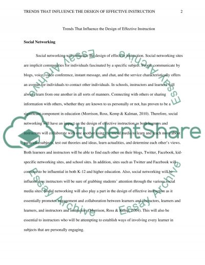 Trends That Influence the Design of Effective Instruction essay example