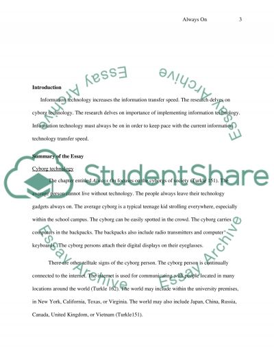 Always on by Sherry Turkle essay example