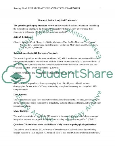 RESEARCH ARTICLE ANALYTICAL FRAMEWORK - Phase #2 of the lit review paper
