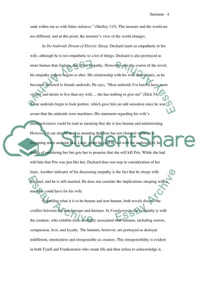 do androids dream of electric sheep and frankenstein essay  text preview