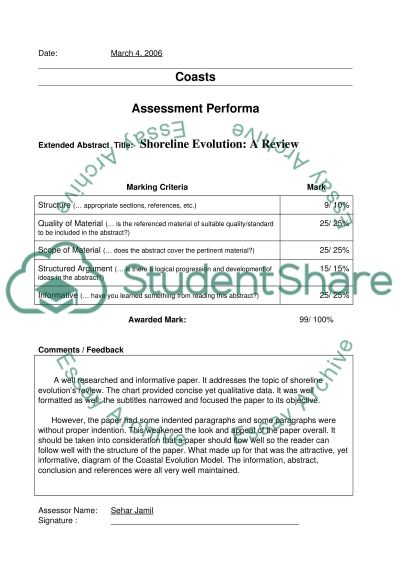 Assessment Performa Essay example