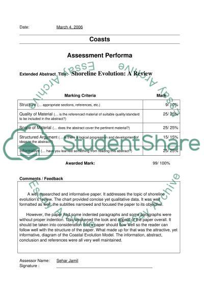 Assessment Performa essay example