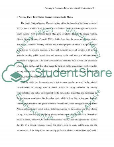 Nursing in a legal and ethical environment in Australia essay example