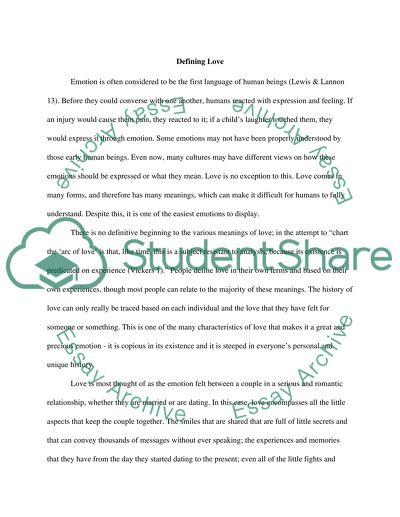 Definition Essay about Love