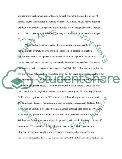 Essay scientific management