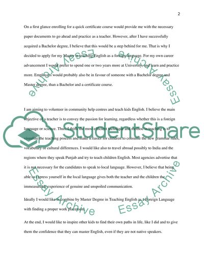 Personal Statement For Application At University To Do A Masters In