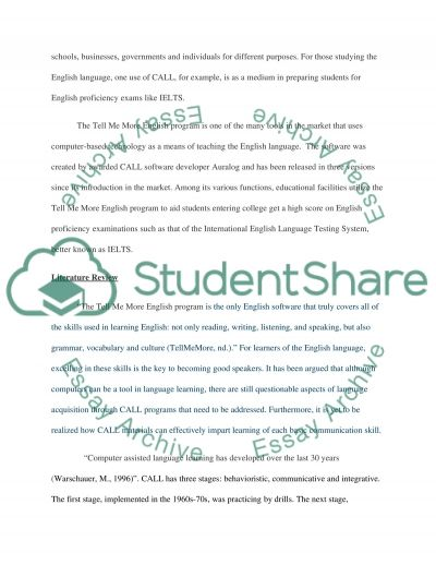 A Computer Assisted Language Learning (CALL) essay example