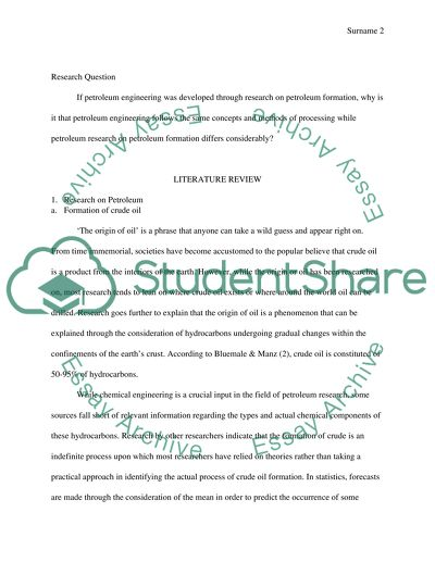 Petroleum Engineering final research Paper