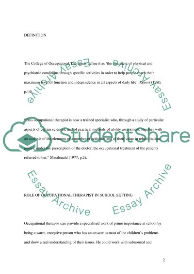Occupational Therapy Master Essay