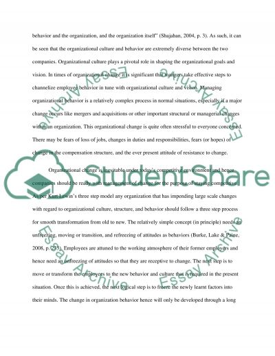organizational culture and change essay Organizational culture and change 5(s) order instructions: organizational culture at your organization assignment expectations (content) for this slp, you are requested to write a 2-3 pages paper in which you conduct an analysis of the organizational culture at your organization or an organization of your choice.