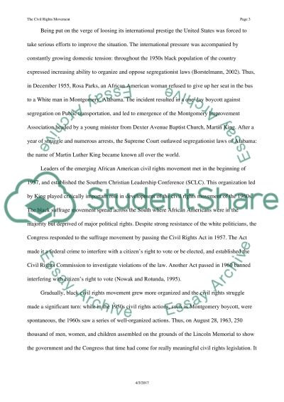 The Civil Rights Movement Essay Essay example