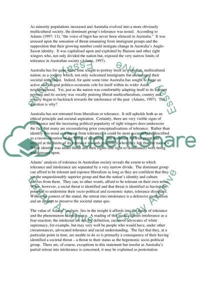 Tolerance Issues in Australia essay example