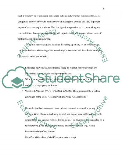 Networking and Management essay example