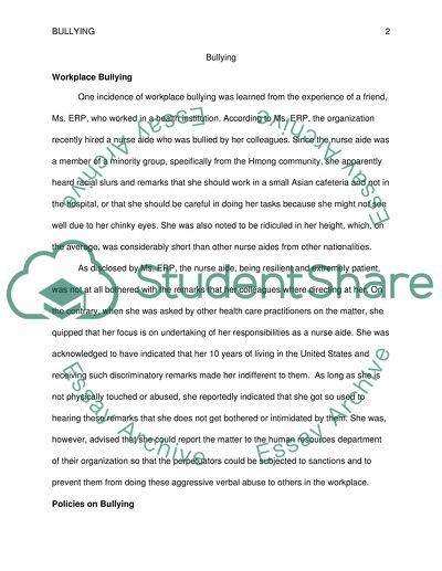 Assignment on Bullying
