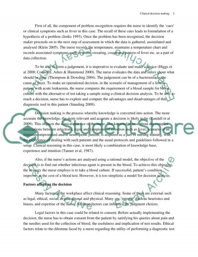 Clinical Decision Making essay example